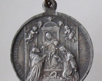 """Our Lady of the Holy Rosary Religious Medal Pendant on 18"""" sterling silver rolo chain"""