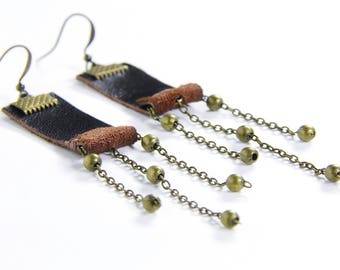 Re-purposed brown leather drop earrings with antique copper chain and beads
