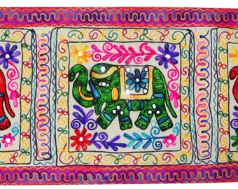 """Antique cotton stunning multicolored embroidery wall tapestry wall hanging table runner Indian home decor art 62"""""""