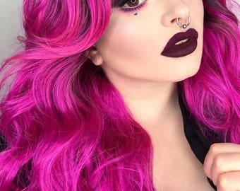 Rooted Pink Fuschia Long Wavy Lace Front Wig | Glamour Cosplay Wig | Playgurl Jasmine