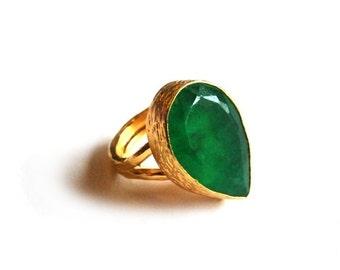 Green Jade Ring Tear Drop Cut