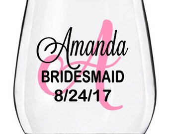 Wedding Wine Glasses Decal, Monogram With Name Title and Date, Bridal Party Wine Glass Decals, Glasses NOT Included