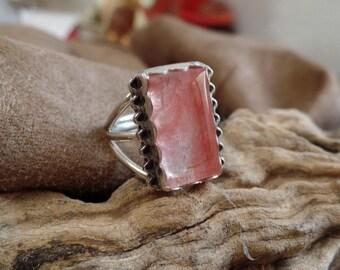 Ruby Quartz Ring, Sterling Silver Ruby Quartz, Silver Ring, Silver Quartz, Ladies Quartz Ring, Under 100 Quartz Jewelry, Pink Gemstone, 1189