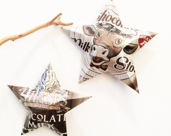 Chocolate Milk Stout Beer Can Stars Christmas Ornaments, Set of 2, 4 Hands Brewing