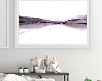 X Large Print Art, Large Wall Art Abstract Landscape Watercolor Painting, Watercolor Print Art, Water Painting, Mauve  Purple 30x18 inches