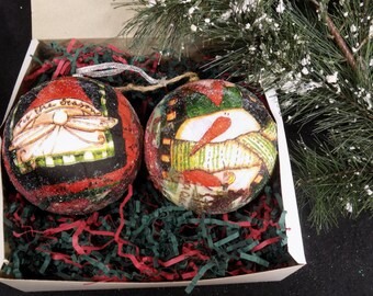 Decoupage tree ornament - FREE SHIPPING - Handmade  tree ornament -Christmas Ball - Santa Snowman Ornament - set of (2)  # 19