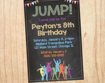 Trampoline Birthday Party Invitation PRINTABLE jump jumping bounce house party DIGITAL