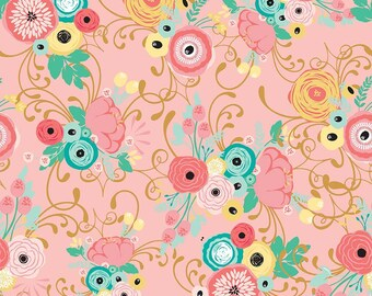 Just Sayin' Fabric Collection by Jen Allyson - My Mind's Eye - Riley Blake - By The Yard - Main Floral Print on pink - C
