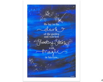 Shooting Star Quote, Male Version, Original Quote Print, Wall Art Print, Gifts for Men, Galaxy Print, Night Sky Print, Starry Night Sky