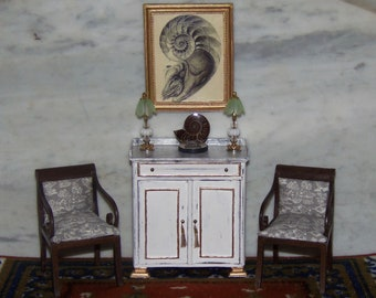 Cabinet, Fossil, Lamps, Framed Nautilus for 1:12th Dollhouse.  sold Separately.  Bespaq Cabinet.