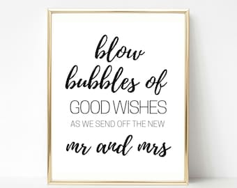 Wedding Sign, Wedding Send Off Sign, Bubble Exit Wedding Sign, INSTANT DOWNLOAD