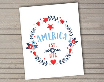"America, since 1776 -- 4th of July -- Independence Day -- USA -- Printable -- 8x10"" Print-at-Home Art Print -- Instant Download"