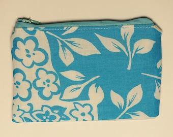 Blue Hawaiian Floral Small Zip Pouch, Money, Trinkets, Coin Purse