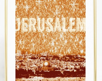 JERUSALEM Sepia Collage,  Photographic Collage, Jerusalem Skyline, Religious Photograhy, Christian Wall Art, Digital Art Photography