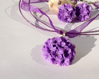Lilac Set Lilac jewelry lilac pendant lavender lilac balls earrings violet lilac polymer clay jewelry gift for her lilac necklace Mother day