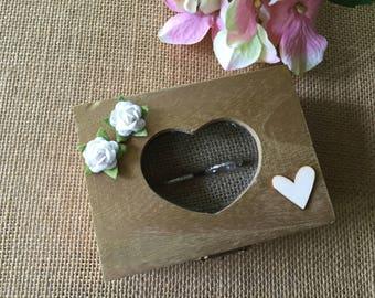 Gold ring bearer box/ ring bearer box/ gold wedding ring box/ wedding ring box/ wedding keepsake box/ gold keepsake box/heart glass ring box