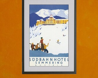 Semmering, Austria Retro Travel Poster - 8.5x11 Travel Poster Print - also available in 13x19 - see listing details
