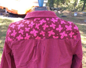 Embellished long sleeve shirt with butterfly fabric custom sewn on back - Size M Old Navy (#S62)