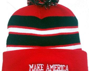 Brand New Make America Great Again Pom Pom Beanie Hat Donald Trump 2016 perfect gift for a Republican Friend