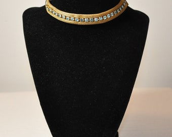 Sarah Coventry Gold Mesh Choker with Blue Rhinestones