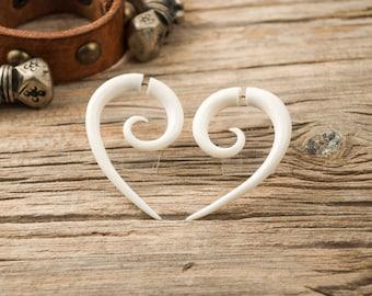 Fake Gauges Earrings Bone Earrings Half Spiral hook drop Tribal Earrings - Gauges Plugs Bone Horn - FG018 B G1