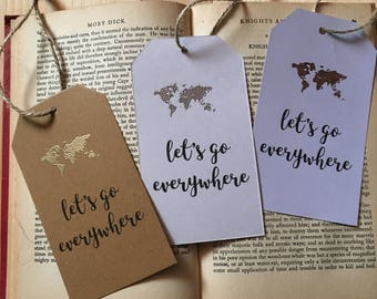 Let's Go Everywhere Wanderlust Luggage Tag Bookmark Gold/ Silver/ Rose Gold/ Copper