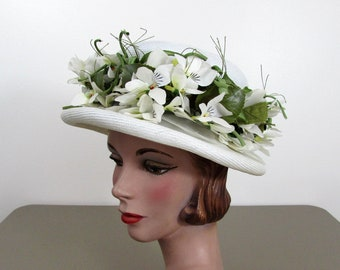 1960s White Straw Panama Hat - white & green flowers from Hovland Swanson Millinery Salon - Garden Party Hat
