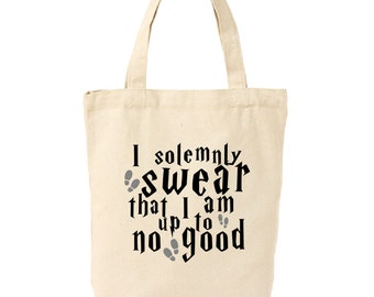 I Solemnly Swear I Am Up to No Good Harry Potter Canvas Tote Bag | Gifts for Harry Potter Fans