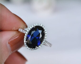 Oval Sapphire Ring Sapphire Engagement Ring/ Wedding Ring 925 Sterling Silver Ring Anniversary Ring Silver Gemstone Ring