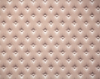 1940s Vintage Wallpaper by the Yard - Brown Button Tuft Geometric