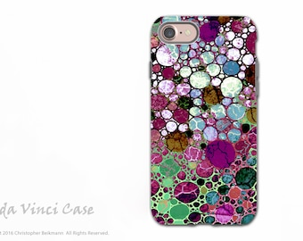 Abstract iPhone 7 / 8 Tough Case - Dual Layer Protection - Artistic Burgundy and Green Art - Berry Bubbles