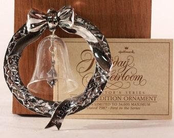 Vintage 1987 Hallmark ~Lead Crystal Bell in Silver Plated Wreath~ Keepsake Ornament Limited Edition 1st