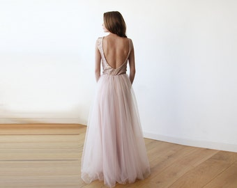 Sleeveless Pink Sequins Maxi Tulle Dress with Open-Back 1099