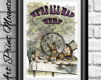 MOUNTED Alice in Wonderland mad tea part on dictionary book page. Antique wall hanging on upcycled media. Mad hatter artwork Alice wall art.