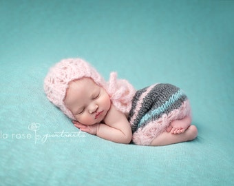 Spring Going Home Outfit Baby Girl Newborn Photo Prop Infant Bonnet and skirt Set Hand Knitted Mohair Hat Knit Skirt Coming Home Cap Set