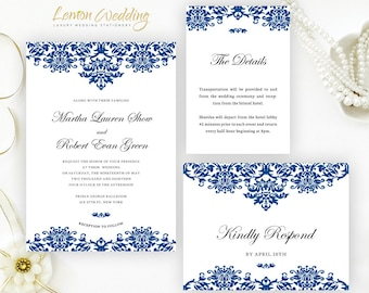 Wedding invitations printed on luxury shimmer by lemonwedding royal blue wedding invitation set printed on white shimmer cardstock cheap wedding invitations info filmwisefo