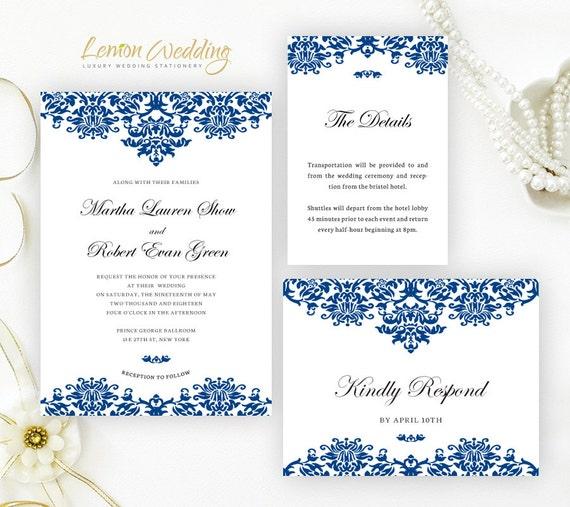Blank Blue Wedding Invitations
