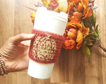 Glitter Pumpkin Cup Cozy//Pumpkin Cozy//Autumn//Fall//Coffee Cozy//Cup Sleeve//Reusable Cozy//Coffee Sleeve