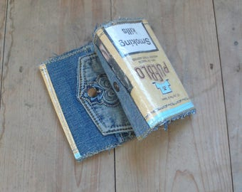 Recycled Denim Wallet , Upcycled Tobacco Pouch