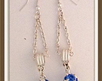 Handmade MWL long dangle blue and silver ball earrings. 0014