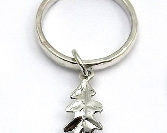 Oak leaf charm ring, handcrafted in sterling silver to your size.