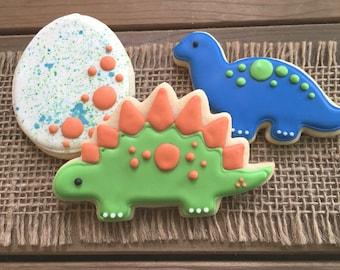 Dinosaur Cookies / Dinosaur Birthday / Dinosaur Party / Green Dinosaur / Dinosaur Favor / Stegosaurus Cookies / Brontosaurus Cookies