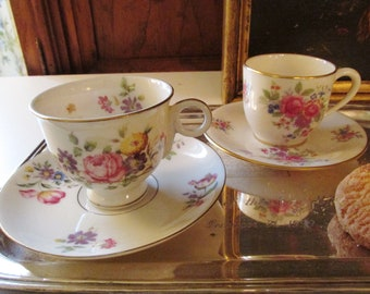 Two Floral Demitasse Cups and Saucer, Lenox Aurora, Haviland Pasadena, Vintage Porcelain Cups, Mother's Day Gift, Romantic Decor