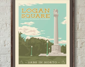 Logan Square Chicago Neighborhood Park 16x20 Poster Wall Art Print