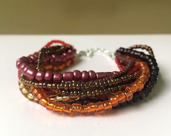 Multi-layered Red Orange Brown Bracelet, Multistrand Bracelet Warm Earth Tones, Boho-chic Jewelry