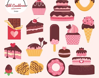Valentine's Day sweets clipart commercial use, valentines clipart, cakes clipart, cupcakes clipart, ice cream clipart, vector graphics CL020