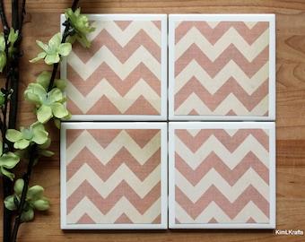 Ceramic Tile Coasters - Coaster Set - Table Coasters - Distressed Coasters - Coaster - Tile Coaster - Chevron Decor - Coasters for Drinks