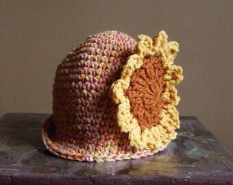 SALE - 25% off Infant Sun Hat Sunflower Crochet Photo Prop Cloche Brim