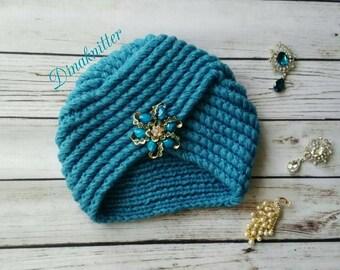 Knitted turban.Turban hat.Wool hat.Crochet turban.Winter beanie.Knitted hat.Womens turban.Fashion turban.Retro turban.Turban headwrap