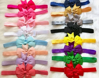 PICK 4 Bow Headbands, Baby Headband, Newborn Headband, Baby Girl Headband, Infant Headband, Baby Bow Headband, Baby Hair Bow, Bow Headband